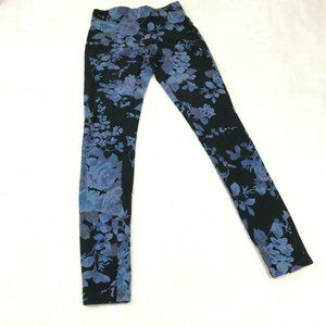 Express Floral Leggings Size XS Blue Black Pull On